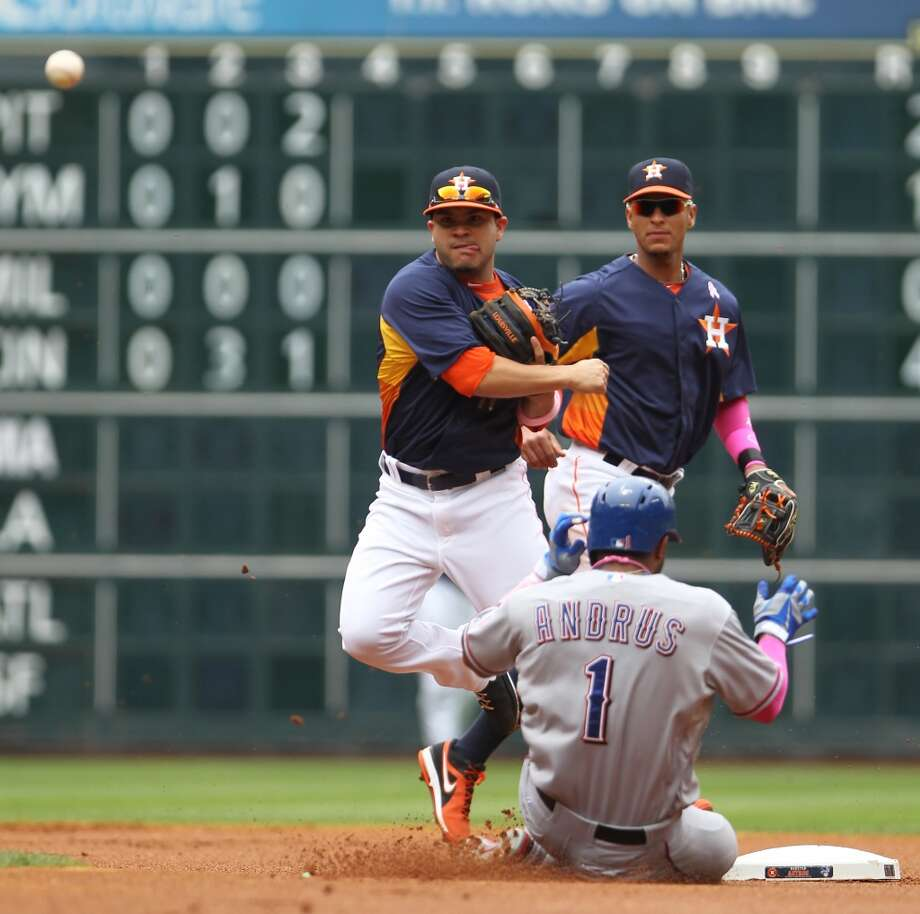 Astros second baseman Jose Altuve makes a throw to first base