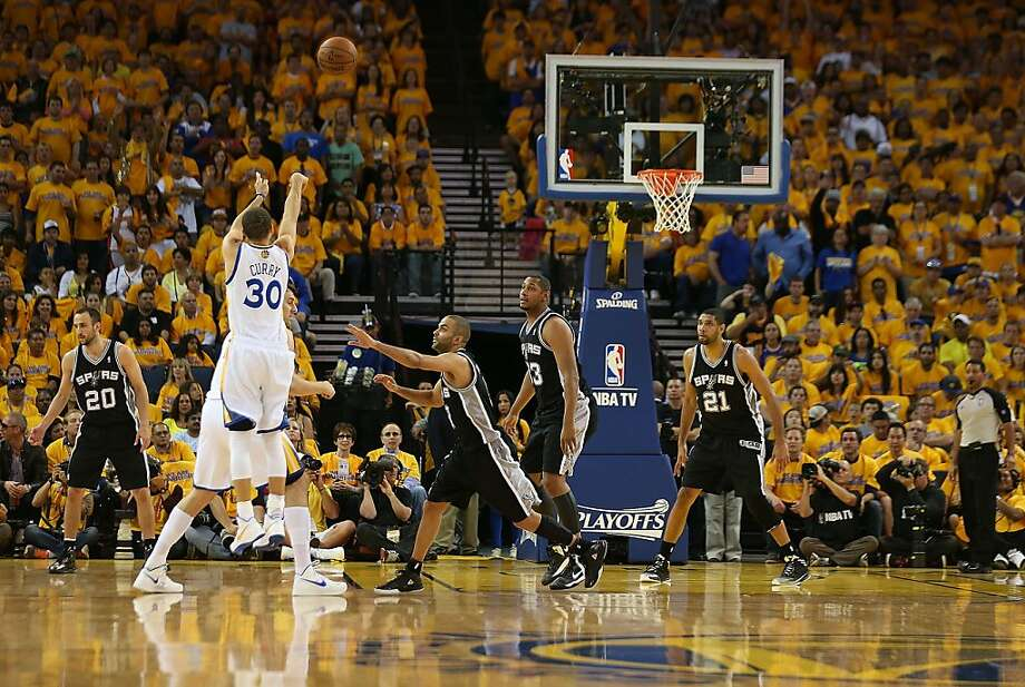 OAKLAND, CA - MAY 12:  Stephen Curry #30 of the Golden State Warriors shoots against the San Antonio Spurs in Game Four of the Western Conference Semifinals during the 2013 NBA Playoffs on May 12, 2013 at the Oracle Arena in Oakland, California. NOTE TO USER: User expressly acknowledges and agrees that, by downloading and or using this photograph, User is consenting to the terms and conditions of the Getty Images License Agreement.  (Photo by Jed Jacobsohn/Getty Images) Photo: Jed Jacobsohn, Getty Images