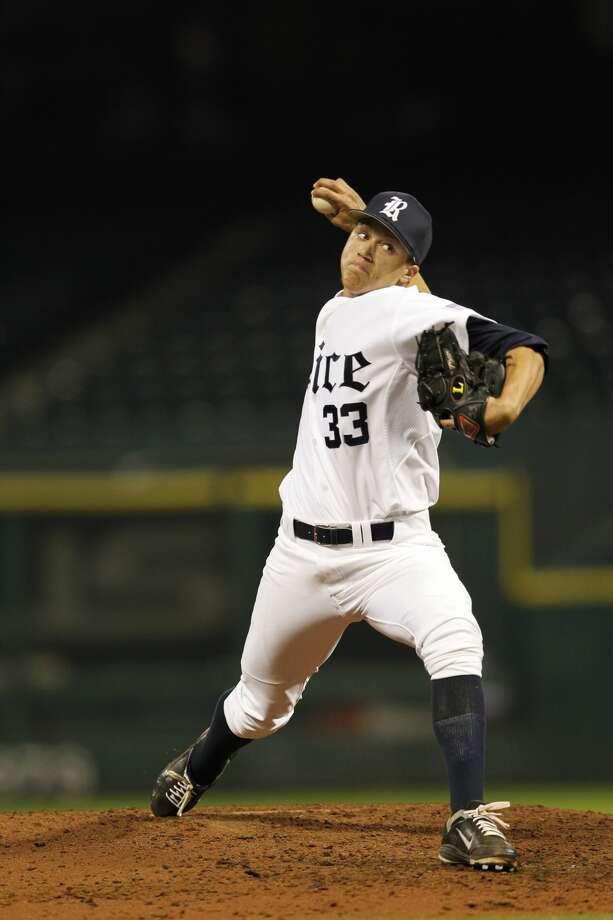 Zech Lemond helped keep the Memphis bats in check Sunday afternoon. Photo: Rice University