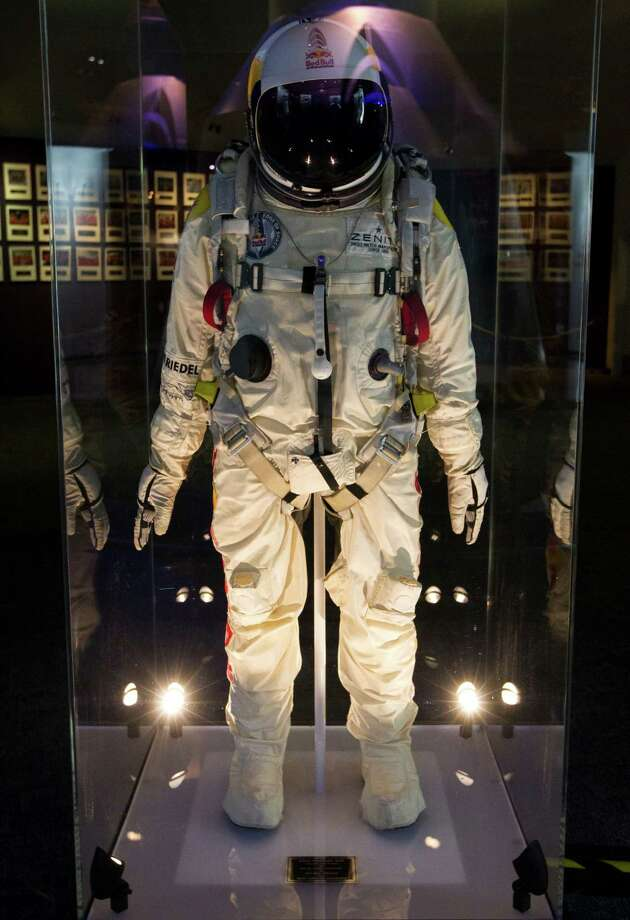 Felix Baumgartner's pressurized suit is displayed at Space Center Houston. Photo: J. Patric Schneider, For The Chronicle / © 2013 Houston Chronicle