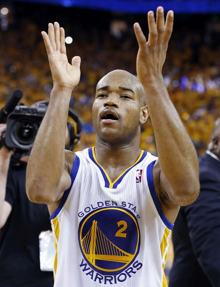 The Warriors' Jarrett Jack celebrates after Game 4 of the Western Conference semifinals against the Spurs on Sunday, May 12, 2013 at Oracle Arena in Oakland. The Warriors won 97-87 in overtime.