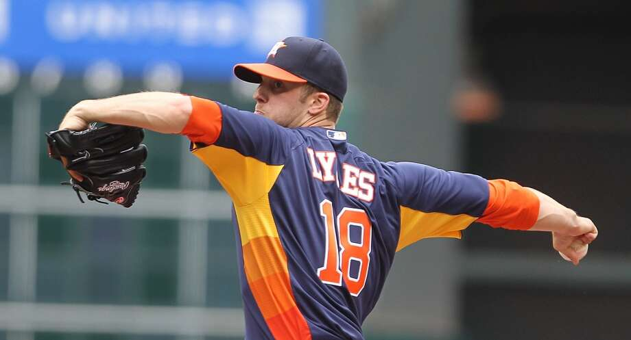 May 12: Rangers 12, Astros 7Pitcher Jordan Lyles fared poorly in his second outing, allowing 11 hits and eight earned runs in four innings of work.  Record: 10-28. Photo: Nick De La Torre, Houston Chronicle
