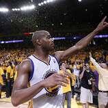 Warriors guard Jarrett Jack acknowledges the Oracle Arena crowd after the overtime victory.