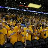 Fans applauded the Warriors after their overtime victory. The Golden State Warriors beat the San Antonio Spurs 97-87 in the playoffs Sunday May 12, 2013 at Oracle Arena in Oakland, Calif.