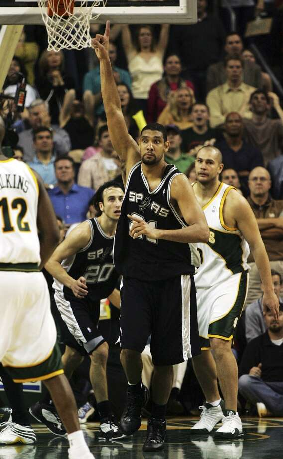 2005 Western Conference Semifinals vs. Seattle SuperSonics: The Spurs get back-to-back wins in Games 5 (103-90) and 6 (98-96) to take series 4-2, moving on to beat the Phoenix Suns 4-1 in the Western Conference finals and face the Detroit Pistons in the NBA Finals.PHOTO: The Spurs' Tim Duncan gestures after sinking the go-ahead shot in the last seconds of the fourth quarter of Game 6 to help the Spurs defeat the SuperSonics in the Western Conference semifinals in Seattle on May 19, 2005. Photo: Kin Man Hui, San Antonio Express-News