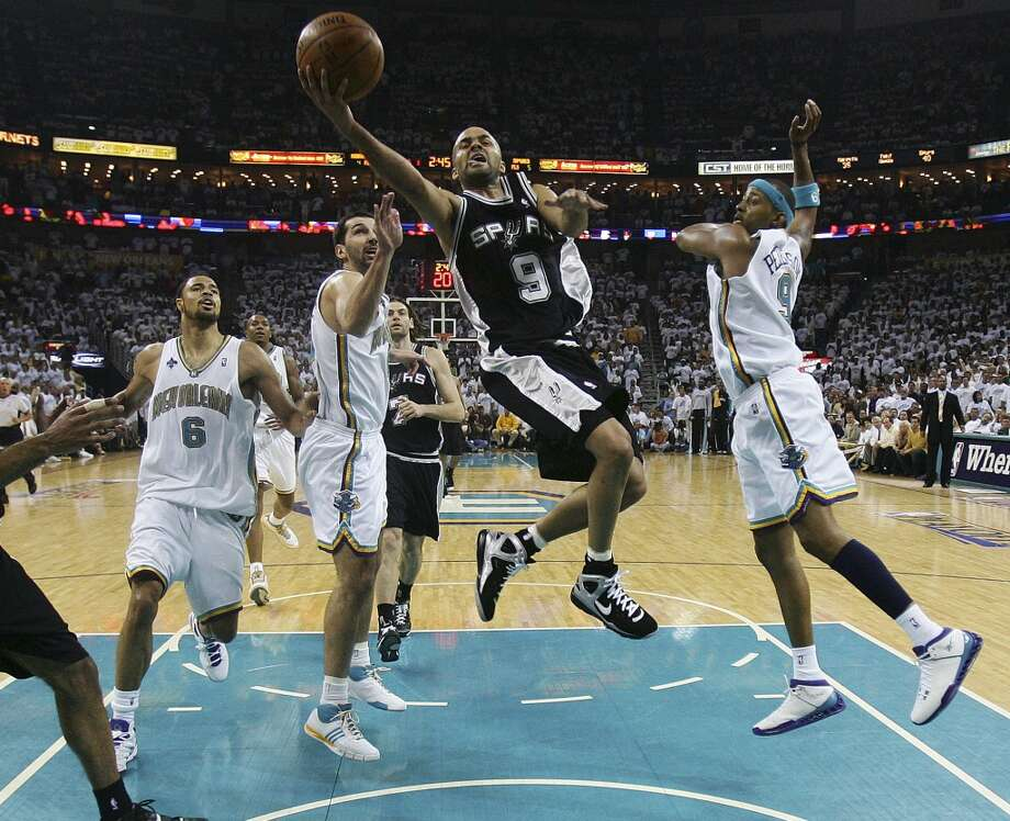 2008 Western Conference Semifinals vs. New Orleans Hornets: The Spurs drop Game 5 (101-79), but come back to win Games 6 (99-80) and 7 (91-82) to take series 4-3. The Silver and Black moves on to face the Lakers in the Western Conference finals and lose the series 4-1.PHOTO: The Spurs' Tony Parker drives for a layup against the Hornets in the first half of Game 7 of the Western Conference semifinals on May 19, 2008, in New Orleans. Photo: Bahram Mark Sobhani, San Antonio Express-News