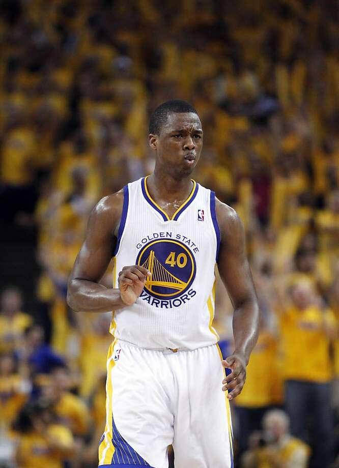Harrison Barnes (40) reacts to hitting a shot late in the second half. The Golden State Warriors played the San Antonio Spurs in Game 4 of the Wester Conference Semifinals at Oracle Arena in Oakland, Calif., on Sunday, May 12, 2013. Photo: Carlos Avila Gonzalez, The Chronicle
