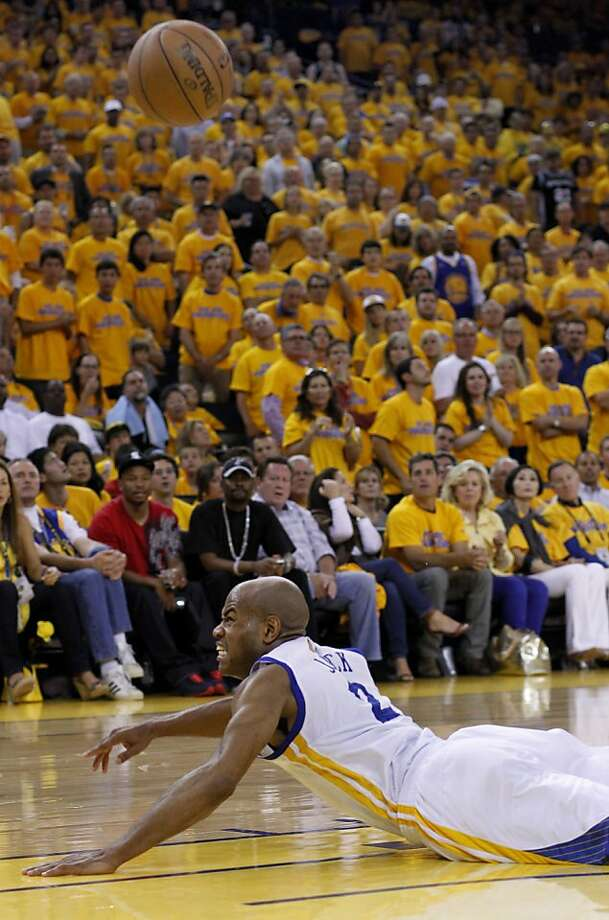 Jarrett Jack tried to get a ball before it went into the stands in the first half. The Golden State Warriors beat the San Antonio Spurs 97-87 in the playoffs Sunday May 12, 2013 at Oracle Arena in Oakland, Calif. Photo: Brant Ward, The Chronicle