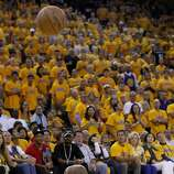 Jarrett Jack tried to get a ball before it went into the stands in the first half. The Golden State Warriors beat the San Antonio Spurs 97-87 in the playoffs Sunday May 12, 2013 at Oracle Arena in Oakland, Calif.