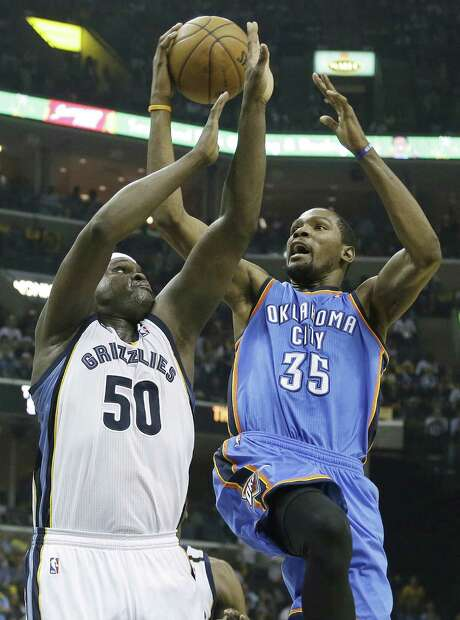 Zach Randolph (left) and the Grizzlies hope to avoid the familiar sting of watching a series lead evaporate against Kevin Durant's Thunder. Photo: Danny Johnston / Associated Press