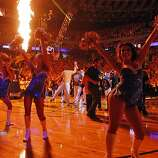 The Warriors girls dance as the players are introduced before the game. The Golden State Warriors played the San Antonio Spurs in Game 4 of the Wester Conference Semifinals at Oracle Arena in Oakland, Calif., on Sunday, May 12, 2013.