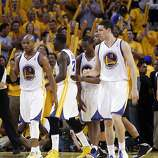 The Warriors react after a call went against the Spurs late in the second half. The Golden State Warriors played the San Antonio Spurs in Game 4 of the Wester Conference Semifinals at Oracle Arena in Oakland, Calif., on Sunday, May 12, 2013.