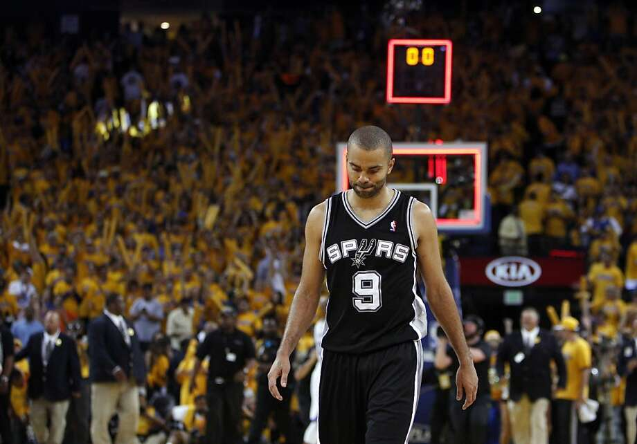 Tony Parker (9) walks off the court after the Warriors won 97-87 in overtime. The Golden State Warriors played the San Antonio Spurs in Game 4 of the Wester Conference Semifinals at Oracle Arena in Oakland, Calif., on Sunday, May 12, 2013. Photo: Carlos Avila Gonzalez, The Chronicle
