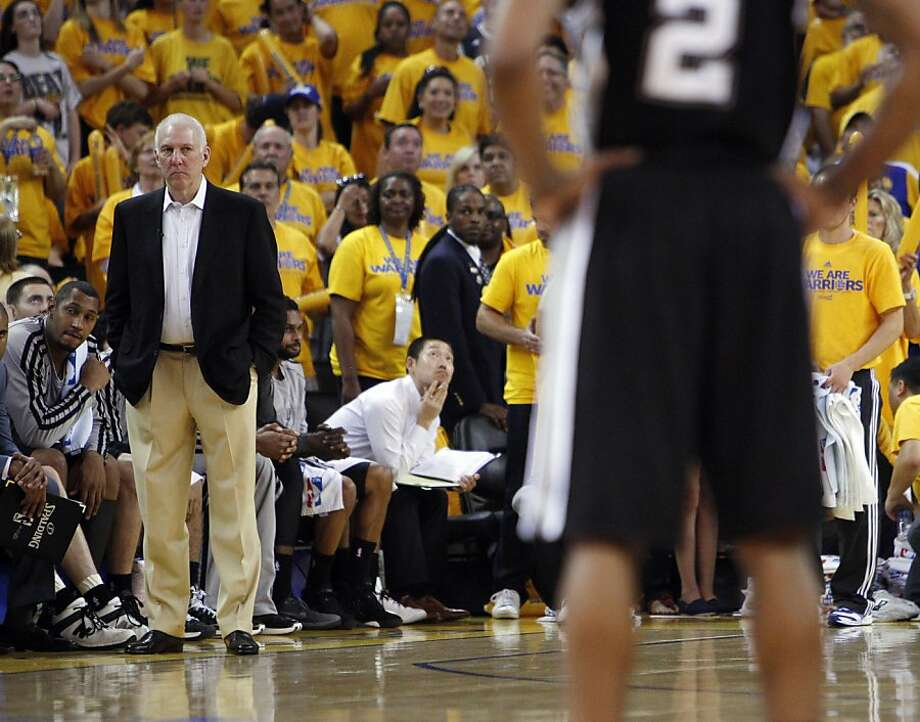 Greg Popovich, Spurs head coach, watches as his team only scored three points in the overtime period. The Golden State Warriors played the San Antonio Spurs in Game 4 of the Wester Conference Semifinals at Oracle Arena in Oakland, Calif., on Sunday, May 12, 2013. Photo: Carlos Avila Gonzalez, The Chronicle