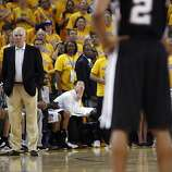 Greg Popovich, Spurs head coach, watches as his team only scored three points in the overtime period. The Golden State Warriors played the San Antonio Spurs in Game 4 of the Wester Conference Semifinals at Oracle Arena in Oakland, Calif., on Sunday, May 12, 2013.