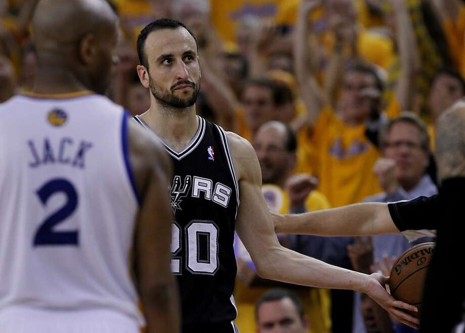 Manu Ginobli dejectedly handed the ball to the ref as time ran out. The Golden State Warriors beat the San Antonio Spurs 97-87 in the playoffs Sunday May 12, 2013 at Oracle Arena in Oakland, Calif. Photo: Brant Ward, The Chronicle