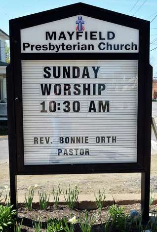 Sign outside the newly rebuilt Mayfield Presbyterian Church in Mayfield, NY Tuesday May 7, 2013.  (John Carl D'Annibale / Times Union) Photo: John Carl D'Annibale / 00022307A