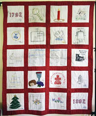One of the few artifacts recovered after the fire this bicentennial quilt nows hangs on the wall in the newly rebuilt Mayfield Presbyterian Church in Mayfield, NY Tuesday May 7, 2013.  (John Carl D'Annibale / Times Union Photo: John Carl D'Annibale / 00022307A
