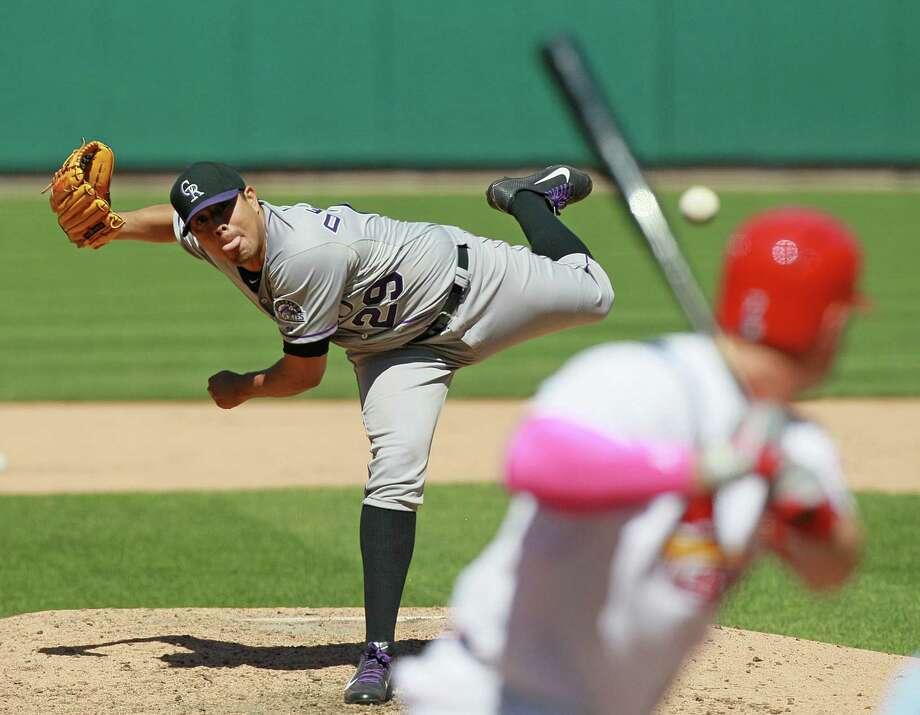 Another day, another brilliantly pitched game in St. Louis, this time by Rockies starter Jorge De La Rosa. Photo: Chris Lee, MBR / St. Louis Post-Dispatch
