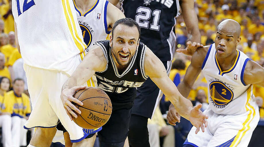 The Warriors put the squeeze on Manu Ginobili and the Spurs in overtime, holding them to three points in the extra period and drawing even in their Western Conference semifinal series. Ginobili finished with 21 points.  Edward A. Ornelas / San Antonio Express-News