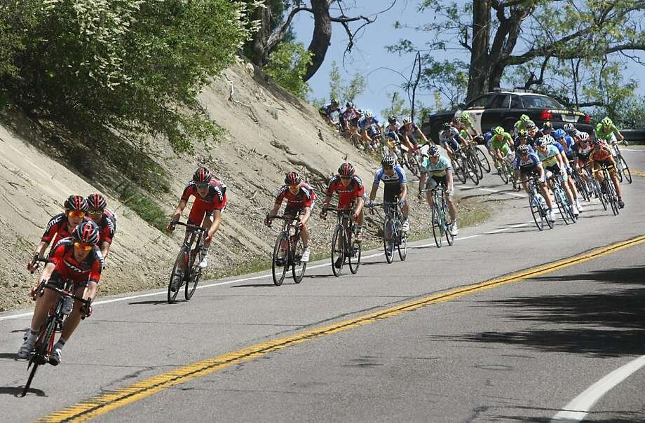 Cyclist race downhill during the first leg of the Amgen Tour of California bicycle race in Palomar Mountain, California, Sunday, May 12, 2013. (Don Bartletti/Los Angeles Times/MCT) Photo: Don Bartletti, McClatchy-Tribune News Service