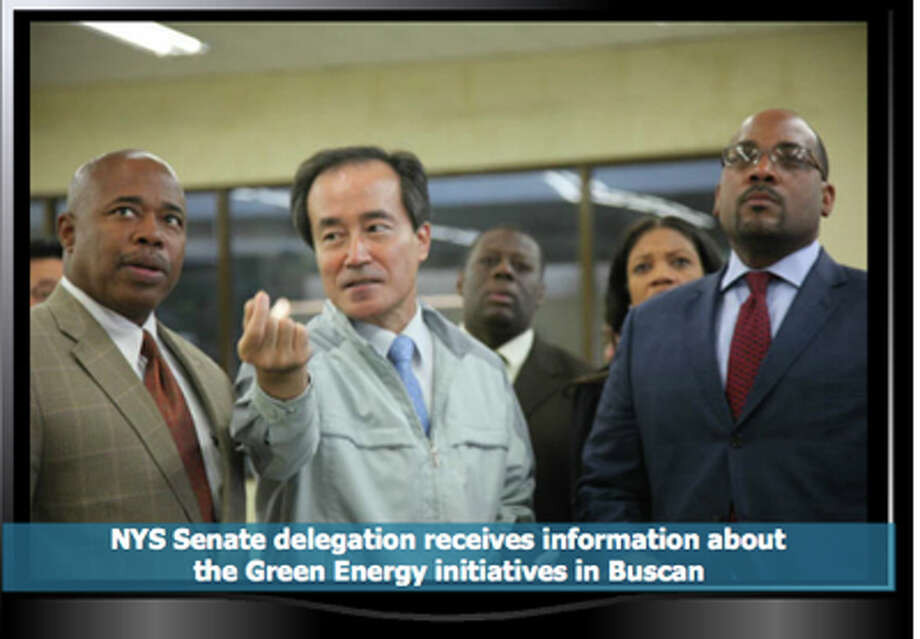 This photo on Sen. Eric Adams Senate Web page illustrates one of the stops he and Sen. John Sampson took on a trip to South Korea in October 2011.