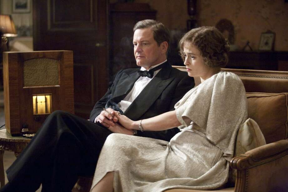 Colin Firth as King George VI and Helena Bonham Carter as the Queen Mother in Tom Hooper's film The King's Speach.  Because the King used the F-word as part of his language therapy, the film was given an R-rating.