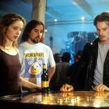Julie Delpy, director Richard Linklater, and Ethan Hawke in between scenes from the film Before Sunrise, from 1995.  Rated R.  WHY?