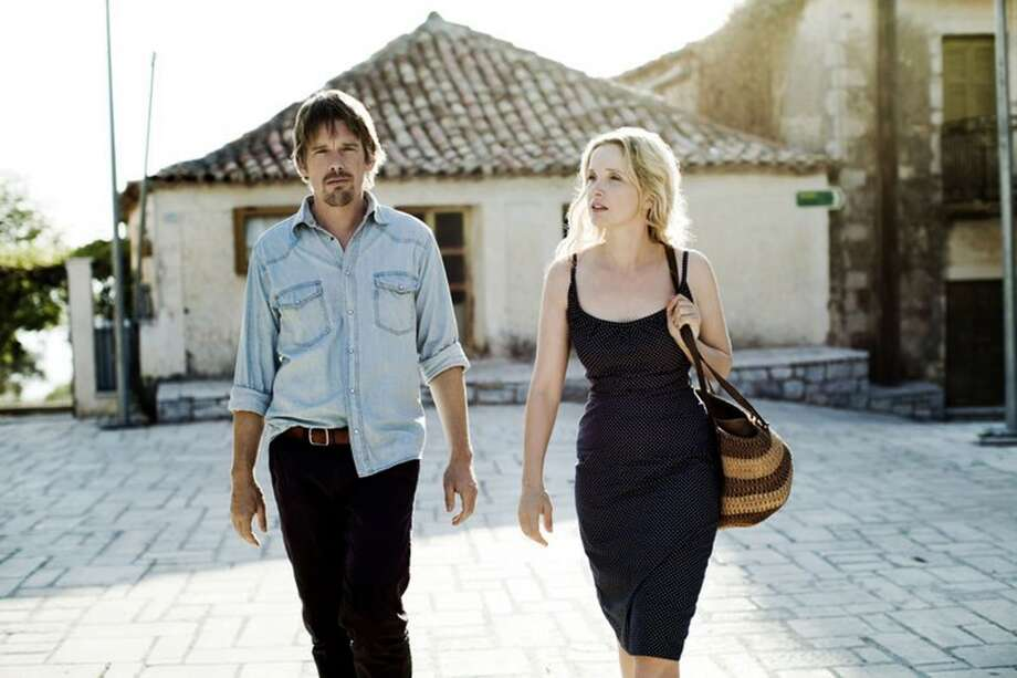 2013 movie Before Midnight, staring Ethan Hawke and Julie Delpy.  Delpy has her top off.  They might as well progress to nudity when they were going to get an R rating anyway.