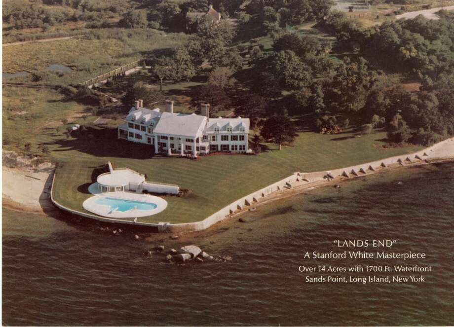 From the brochure of the attempted $30M sale of Land's End. Aerial view of estate. Photo via Old Long Island/SPLIA