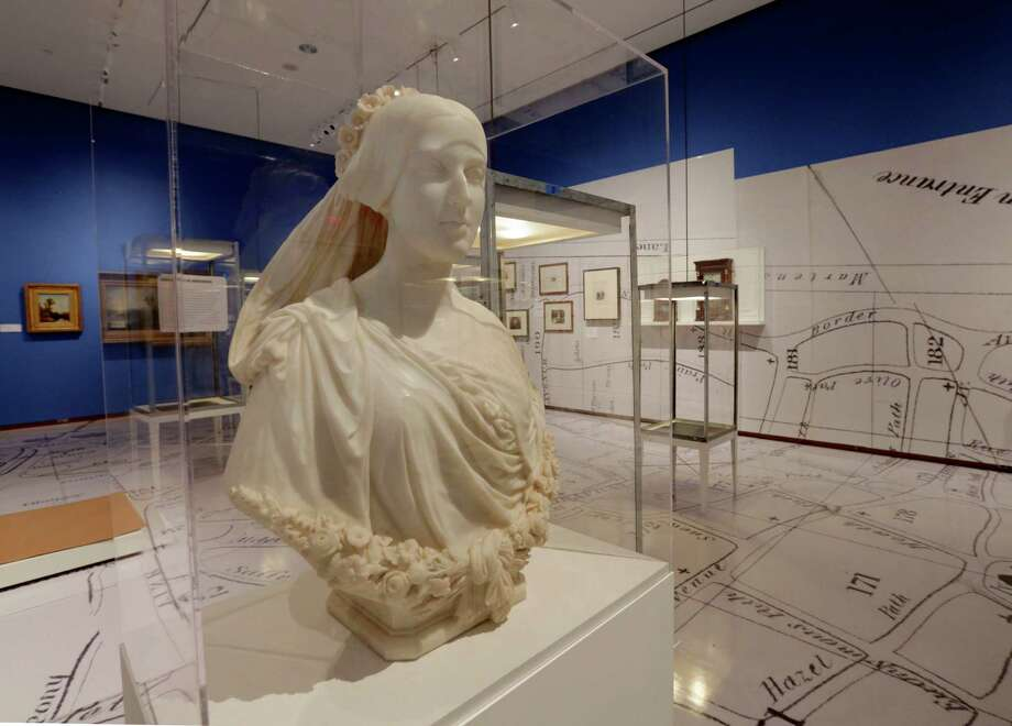 "A marble bust, by Thomas Crawford, who is buried in New York's Green-Wood Cemetery, is displayed at the Museum of the City of New York,  part of the ""A Beautiful Way To Go: New York's Green-Wood Cemetery,"" exhibit Thursday, May 9, 2013. Photo: Richard Drew, AP / AP"