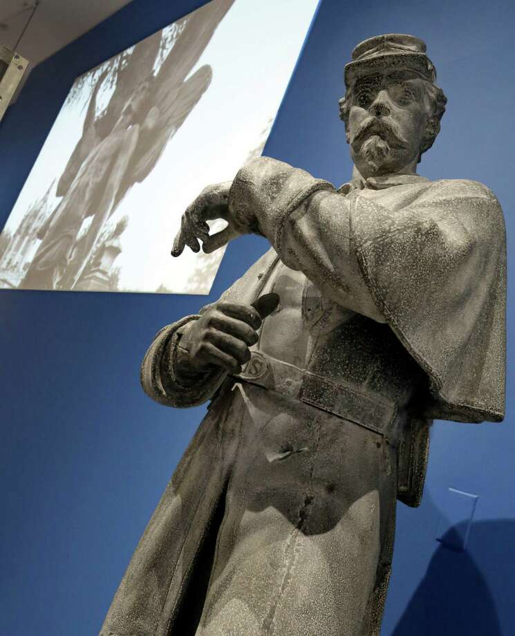 """A zinc sculpture for The Soldiers Monument of New York's Green-Wood Cemetery, is displayed at the Museum of the City of New York, part of the """"A Beautiful Way To Go: New York's Green-Wood Cemetery,"""" exhibit ,Thursday, May 9, 2013. Photo: Richard Drew, AP / AP"""