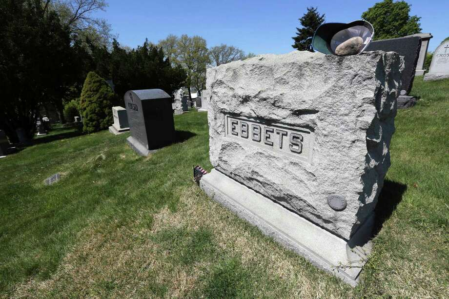 This May 2, 2013 photo shows the grave site of Charles Ebbets and his son, Charles Ebbets, Jr., founders of the Brooklyn Dodgers, at Brooklyn's Green-Wood Cemetery in New York. The 478-acre site is celebrating its 175th anniversary this year and a special exhibition on Green-Wood is opening at the City Museum of New York.  While it cannot replace a visit to the cemetery grounds, it provides a historical context for one of only four U.S. cemeteries to be granted National Historic Landmark status. Photo: Mary Altaffer, AP / AP