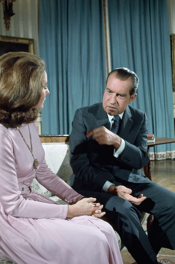 NBC News co-anchor Barbara Walters interviews President Richard Nixon. Photo: NBC NewsWire, NBC NewsWire Via Getty Images / Getty 2013
