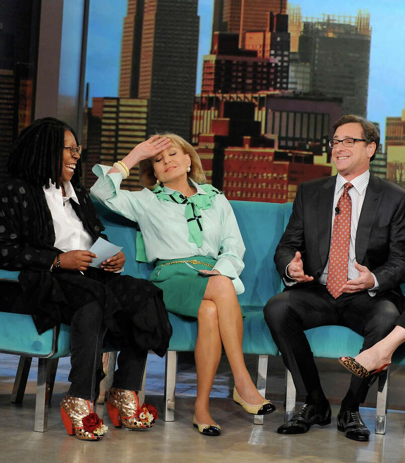 "Barbara Walters, center, with Whoopi Goldberg and Bob Saget on ""The View"" in 2013. Photo: Donna Svennevik, ABC Via Getty Images / Getty 2013"