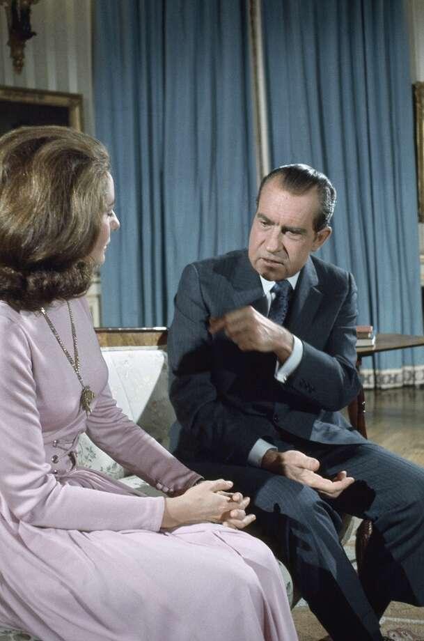NBC News c0-anchor Barbara Walters interviews President Richard Nixon.