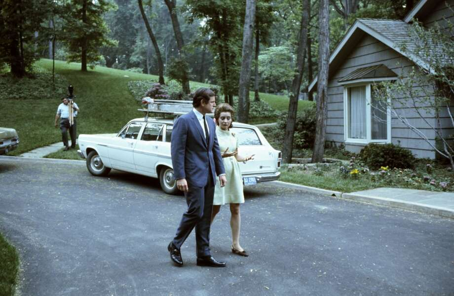 Senator Ted Kennedy, NBC News' Barbara Walters during an interview at Kennedy's home in the 1970s.