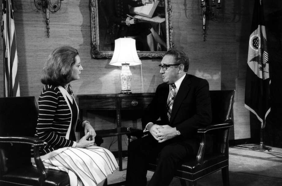 NBC News' Barbara Walters, U.S. Secretary of State/National Security Advisor Henry Kissinger in the Madison Room of the State Department in Washington D.C. on May 3, 1975.