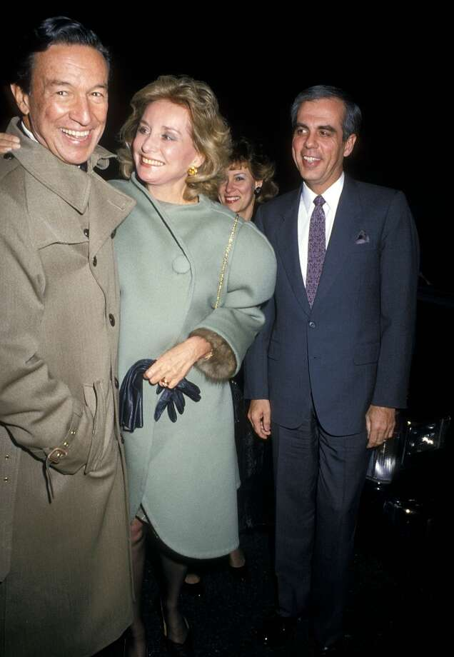 Journalist Mike Wallace and TV journalist Barbara Walters attend Vanity Fair Magazine's Fifth Anniversary Celebration in 1988.