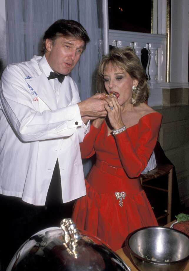 Donald Trump and Barbara Walters at the Plaza Hotel in New York City in 1989.