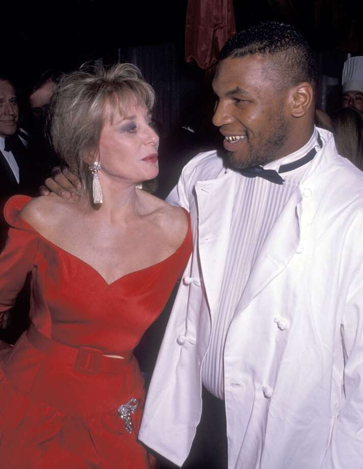 Journalist Barbara Walters and boxer Mike Tyson attend the Second Annual Gourmet Gala to Benefit the March of Dimes Birth Defects Foundation on November 21, 1989 at the Plaza Hotel in New York City.