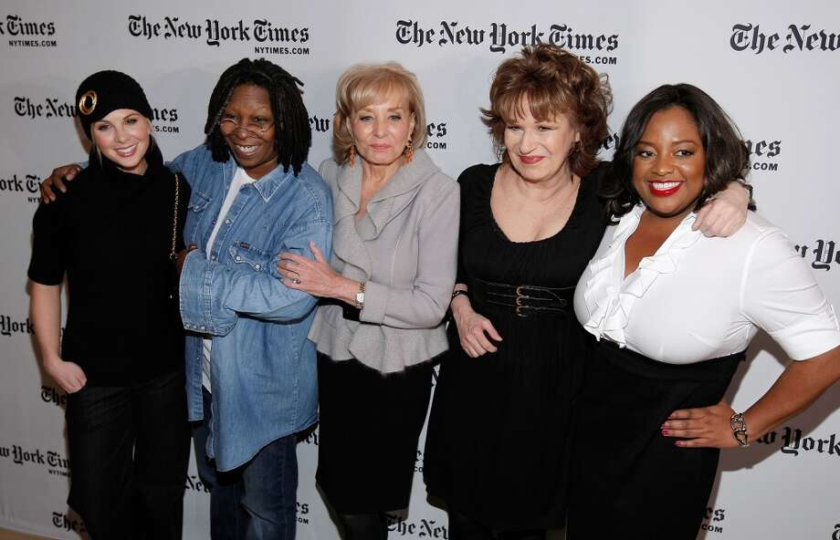 Elisabeth Hasselbeck, Whoopi Goldberg, Barbara Walters, Joy Behar and Sherri Sheperd attend the New York Times Art and Leisure Weekend at TheTimesCenter on January 8, 2009 in New York City.