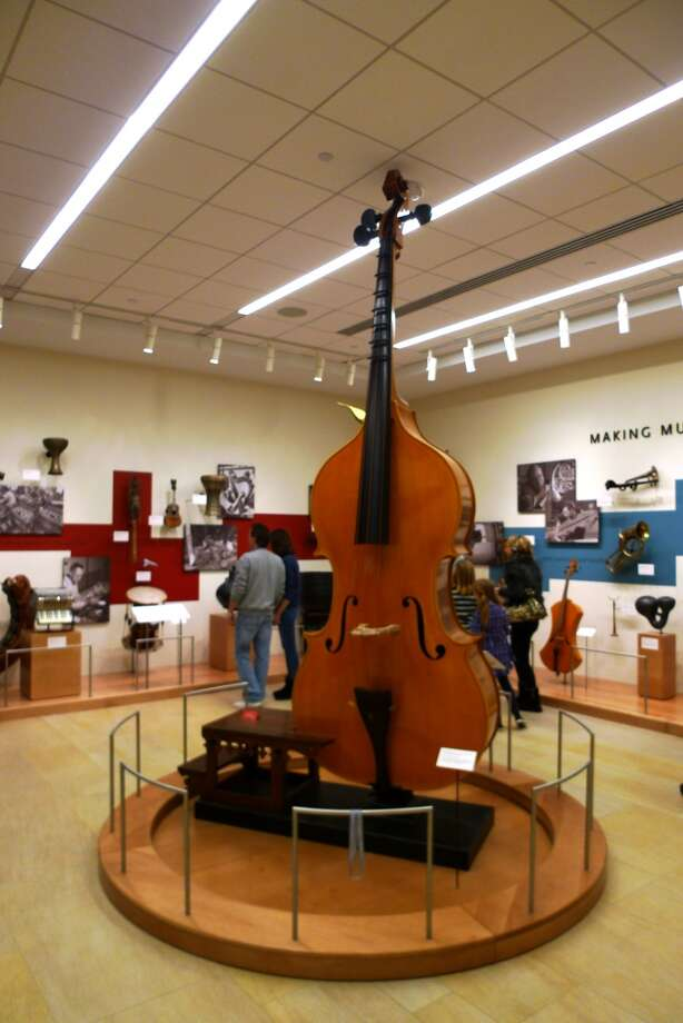 The museum features instruments of all types and sizes, including a particularly large string bass.