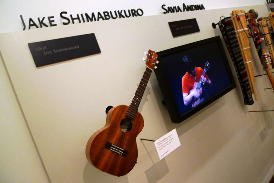 A display dedicated to ukulele guru Jake Shimabukuro.