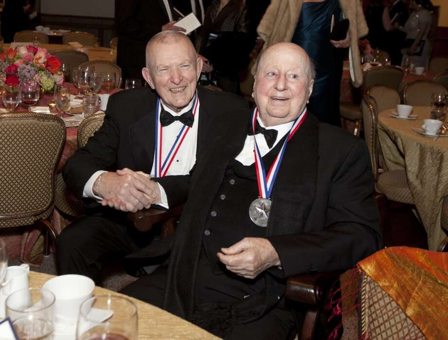 Eugene Krantz and George Mitchell, following the History-Making Texan Award presentation, attend the Texas State History Museum Foundation''s Ninth Annual Texas Independence Day Dinner. The event took place at The Bullock Texas State History Museum in Austin on Wednesday, February 27. Photo: Courtesy Photo