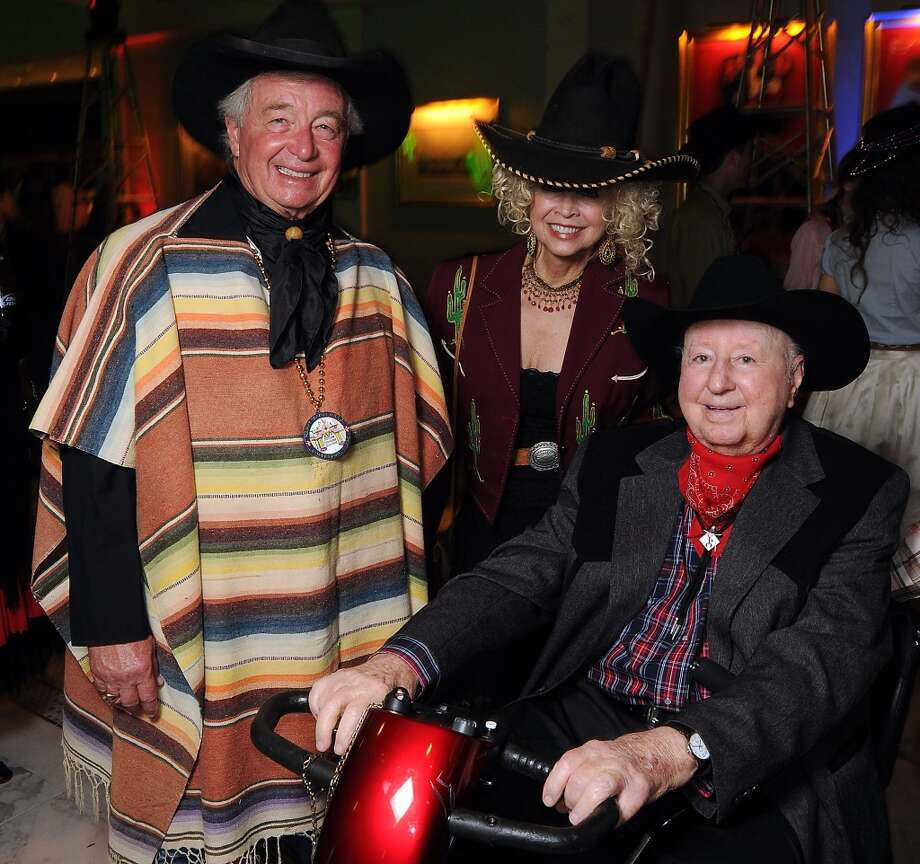 """Janie and Dick DeGuerin with George Mitchell at the """"Waltz Across Texas""""  Mardi Gras Ball at The Tremont Hotel Saturday Feb. 09, 2013. Photo: Dave Rossman, For The Houston Chronicle"""