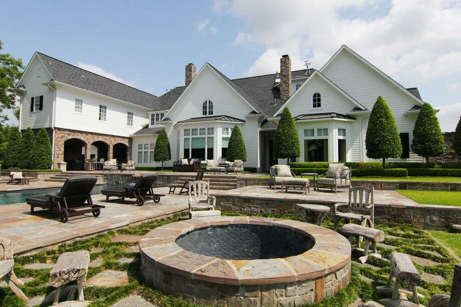 View of the fire pit and pool.