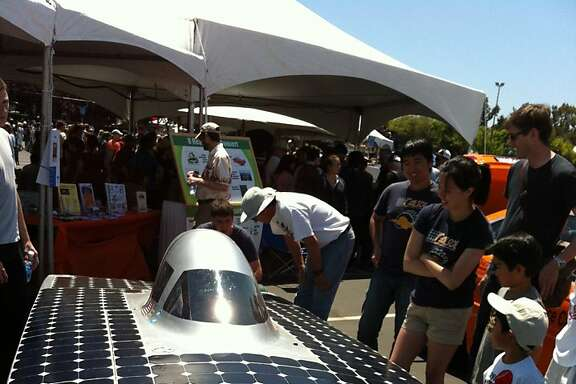UC Berkeley's CalSol Solar Vehicle team displays its Impulse at the 2012 Maker Faire at the San Mateo Fairgrounds.