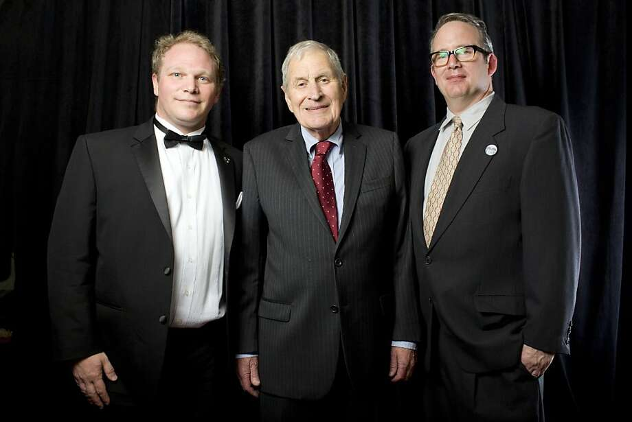 George Gund IV (at left) with honoree Ray Dolby and SFFS Executive Director Ted Hope at Bimbo's 365 Club for Film Society Awards Night at the 56th San Francisco International Film Festival. May 2013. By Pamela Gentile. Photo: Catherine Bigelow, Special To The Chronicle