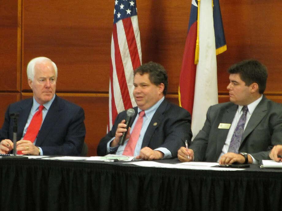 Rep. Blake Farenthold (center) next to Sen. John Cornryn (left) on August 21, 2012.